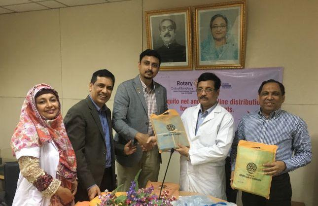 Jugantor report Mosquito net (150) & IV saline (100) distribution